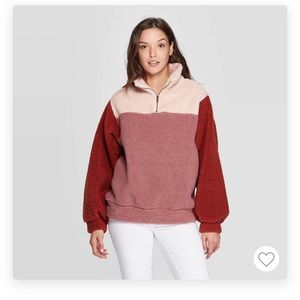 Mock turtleneck quarter zip Sherpa sweatshirt M